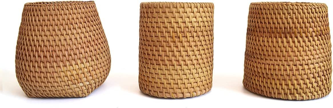 3pcs Rattan 70% OFF favorite Outlet Pencil Holders 3 Different Shapes of Cups Wicker Pen