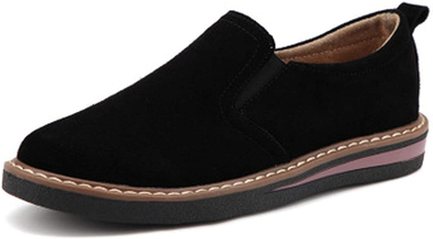 HANBINGPO 2019 Spring Women Flats Sneakers shoes Women Slip on Flat Loafers Suede Leather shoes Handmade Boat shoes Black Oxfords