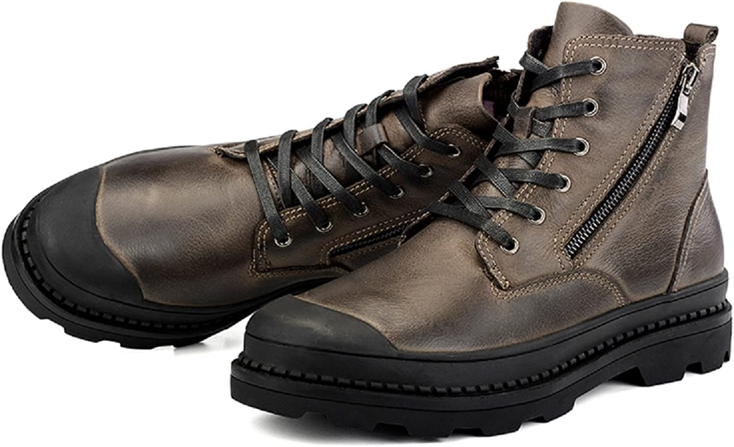 shoes CN Men's Military Tactical Work Leather Boot with Zipper