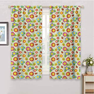 HoBeauty home Babycurtains for bedroomFloral Pattern with Ladybugs and Butterflies Dotted Background Nature Inspirationscurtain panelsMulticolor72 x 45 inch