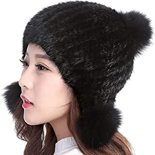 Womens Winter Hat Knitted Mink Real Fur Hats with Fox Brim(black)