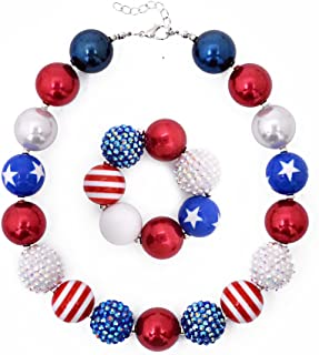 CDoys Dress Up Jewelry for Little Girls Kids Necklaces Fashion Girls Chunky Beads Bubblegum Necklace and Bracelet Set Red White Diamond Bead Set