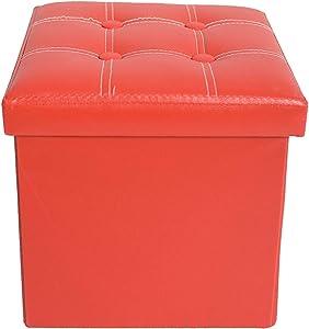 Rebecca Mobili RE4900 Pouf de Rangement, Repose-Pieds Assise Rouge, Cube, Bois MDF Simili Cuir, mobilier Moderne, 30 x 30 x 30 cm