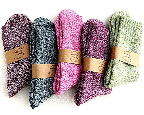5Pairs Ladies thermal Winter socks, Womens Thick Knitting Warm & comfy Wool Crew Vintage Style Sock (D-thread)