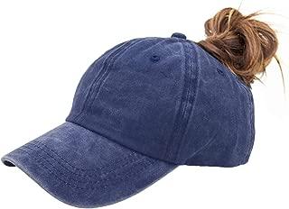 HongBaoTai Ponytail-Baseball-Hat Women Messy-Bun-Hat Cap - Washed Distressed
