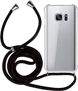 MyGadget Handykette für Samsung Galaxy S7 TPU Hülle mit Handyband zum Umhängen   Handyhülle mit Band Halskette Kordel Schnur Case Schutzhülle   Schwarz
