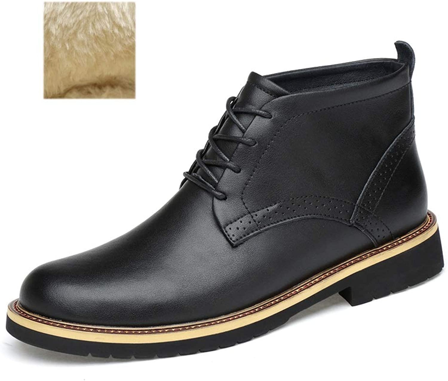 Men's Tooling Boots Plus VelvetKeep Warm Fall Winter Leather shoes Non Slip Shock Absorption Lace-up Martin Booties (color   Black, Size   44)