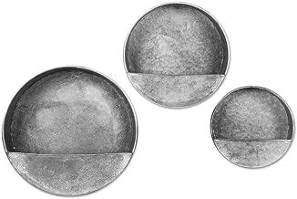 Koyal Wholesale Galvanized Zinc, Farmhouse, Gray Metal Containers for Wedding, Rustic Planters, Succulent Flower Pots, French Galvanized Décor, Waterproof (Round Planter Set)