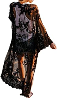 AiJump Chiffon Vestido Largo Pareo Bikini Cover Up Beachwear para Mujer