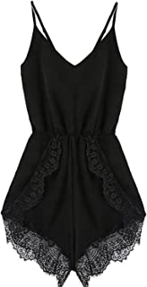 FACE N FACE Women's Lace Chiffon Sleeveless Jumpsuit Rompers