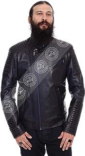 Erkek Gerçek Deri Spor Biker Mont Lacivert K-372-15268 FA2