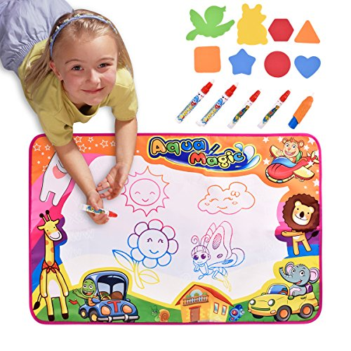 Magic Water Drawing Mat Large Doodle Mat 34.5 x 22.5in Painting Board Writing Mats With 4 Pens 1 Brush 8 Molds Learning Educational Toddler Toys Toddler Gifts for Girls Boys Age 2 3 4 5+ Year old