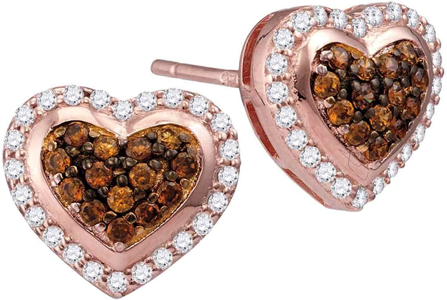 10kt pink gold Womens Round Cognacbrown color Enhanced Diamond Heart Cluster Screwback Earrings 1 2 Cttw