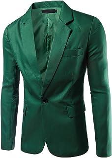 Men's Blazer Slim Fit Casual One Button Suits Coat Solid Blazer Business Jacket