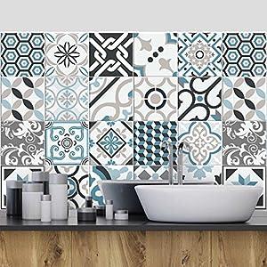 (24 Piezas) Pegatinas para Azulejos tamaño 10x10 cm PS00054 Adhesivo de Vinilo Decorativo para Azulejos de baño y Cocina