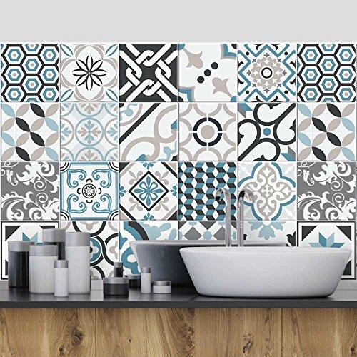 24 (Piezas) Adhesivo para Azulejos 20x20 cm - PS00054 - Oslo - Adhesivo Decorativo para Azulejos para baño y Cocina - Stickers Azulejos - Collage de Azulejos