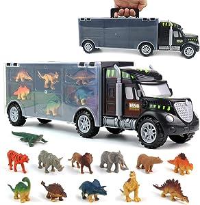 yoptote Dinosaur Toys, Truck Carrier Toy Car Playset with Play Mat Plastic Dinosaur Figures Animal Toys Kids Toys Age 3 4 5 6 Birthday Halloween for Kids Boys Girls