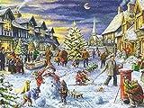 5D DIY Diamant-Gemälde Weihnachten Voller Bohrer, quadratische Diamant-Stickerei, Landschaftsbild von Strass-Diamant-Mosaik, Winter, 50 x 70 cm, quadratische Bohrmaschine