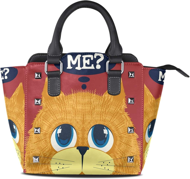 My Little Nest Women's Top Handle Satchel Handbag Cute Cat ME Ladies PU Leather Shoulder Bag Crossbody Bag