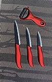 Hochwertiges Keramikmesser-Set 4-teilig Küchenmesser aus Keramik in rot schwarz - 2 Jahre Garantie