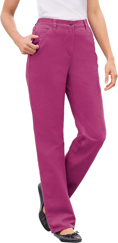 Woman Within Women's Plus Size Back-Elastic Straight Leg Cotton Jean