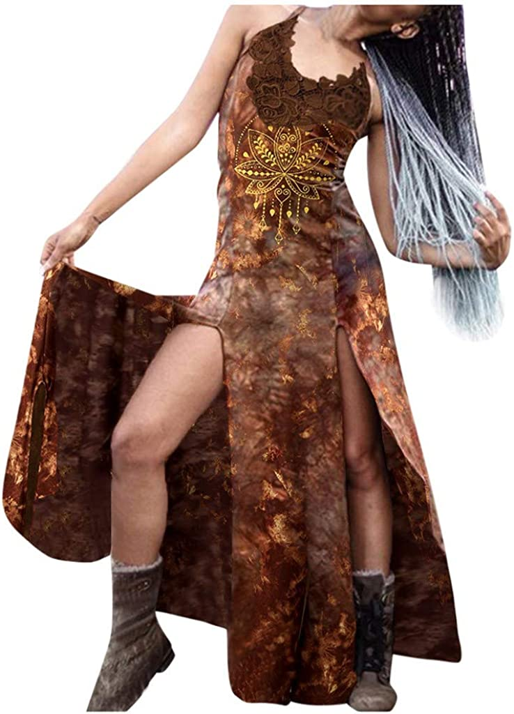 Oklahoma City Mall Women Retro Punk Split Product Hem Dress Lace Cross Tie-Dyed Str Printed