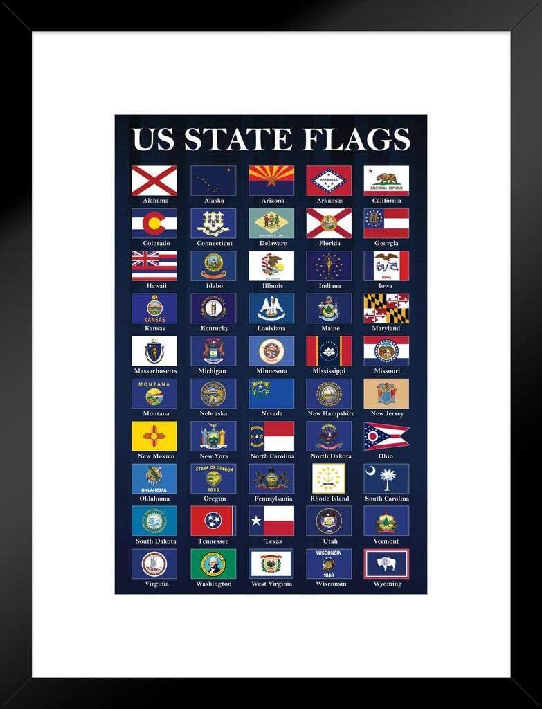 USA State Flags Elegant Classroom Chart Blue mart Flag Poster Patriotic