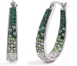 Inside Out Hoop Oval Crystal Hoop Earings, Fashion Hoop Earrings for Women- Austrian Crystal Hoop Earrings, Oval Earrings For Women
