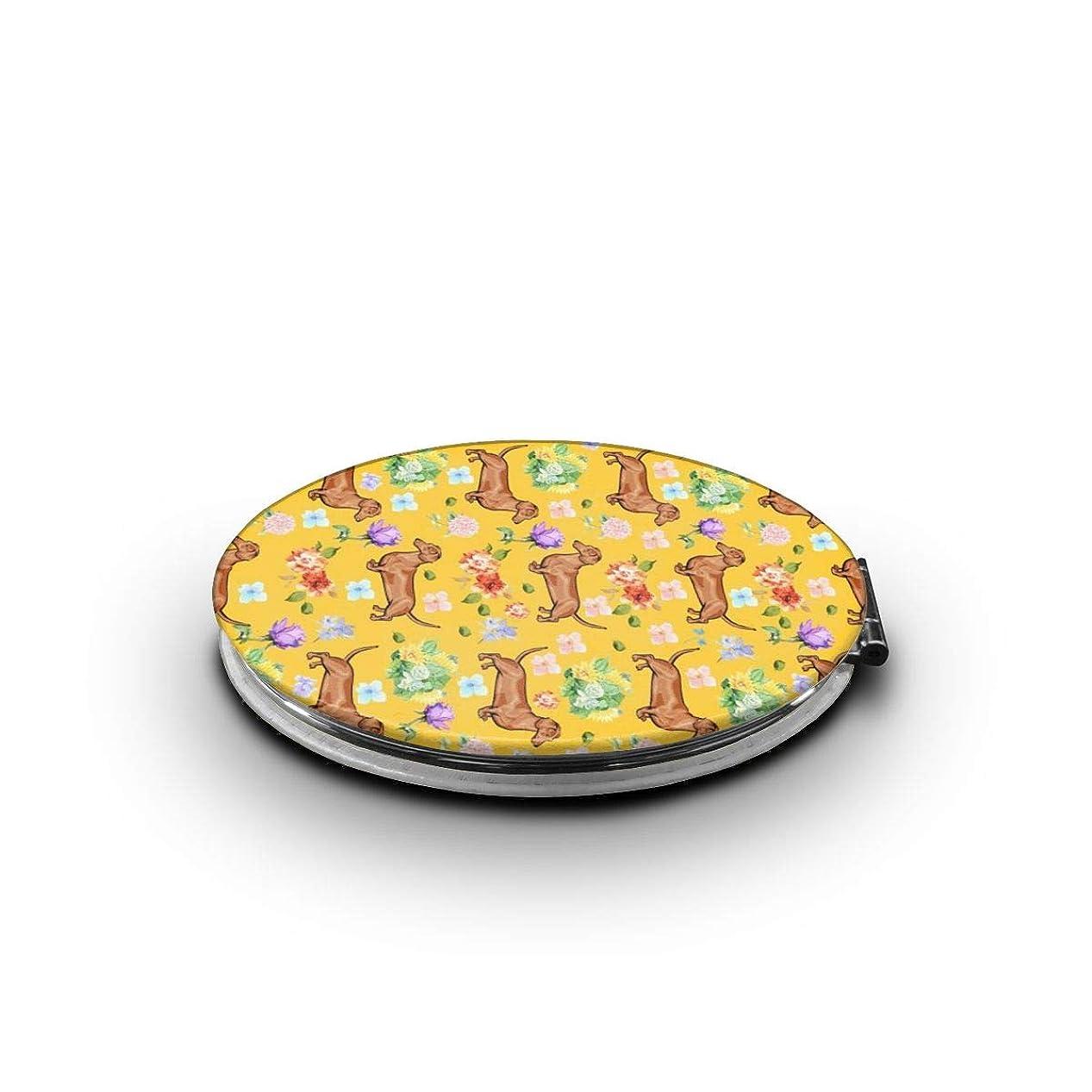 印象的な取得コード化粧鏡 ダックスフンドと花柄 折りたたみ 自由 角度調整 180° 回転 女優ミラー 携帯用ミラー コンパクトコンパクト ミラー