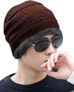 ADBUCKS Snow Proof Inside Fur Unisex Wool Beanie Cap Thick Fleece Lined Winter Hat for Men & Women