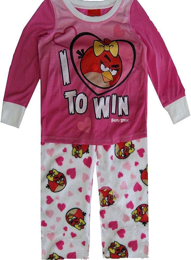 Angry Birds Big Girls Character Pri3nt 2 Pc Pajama Set 10 White Pink