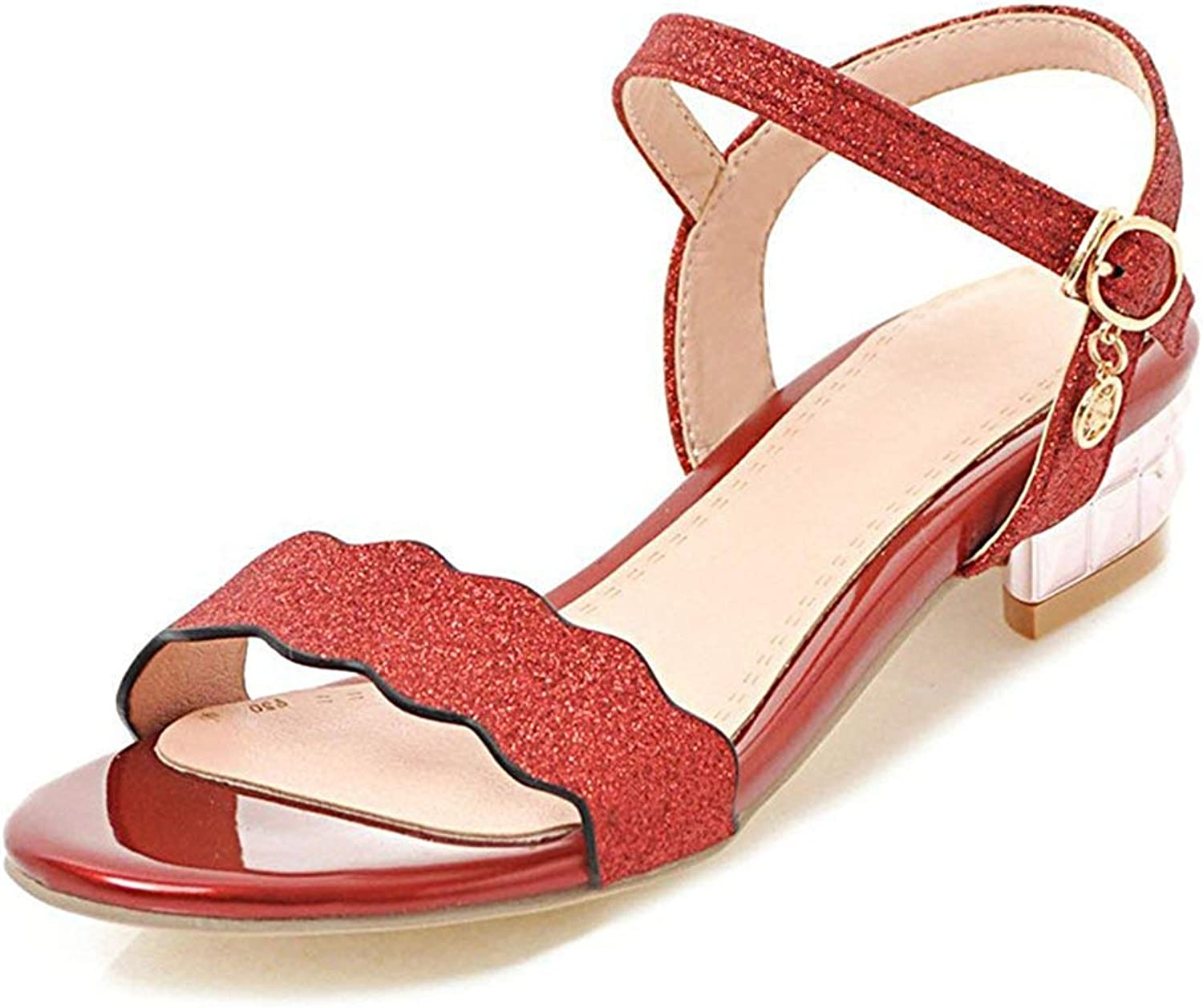 Unm Women's Low Heel Sandals with Ankle Strap - Buckled Chunky Open Toe - Glitter Sequined
