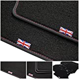 tuning-art D201 Union Jack Design Alfombrillas con Letras Bordes y Doble Costura