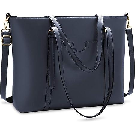 NUBILY Handtasche Shopper Damen Groß 15.6 Zoll PU Leder Shopper Blau Laptop Umhängetasche Gross Business Aktentasche Frauen Retro Schule Taschen
