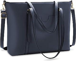 NUBILY Handtasche Shopper Damen Groß 15.6 Zoll PU Leder Shopper Blau Laptop Umhängetasche Gross Business Aktentasche Fraue...