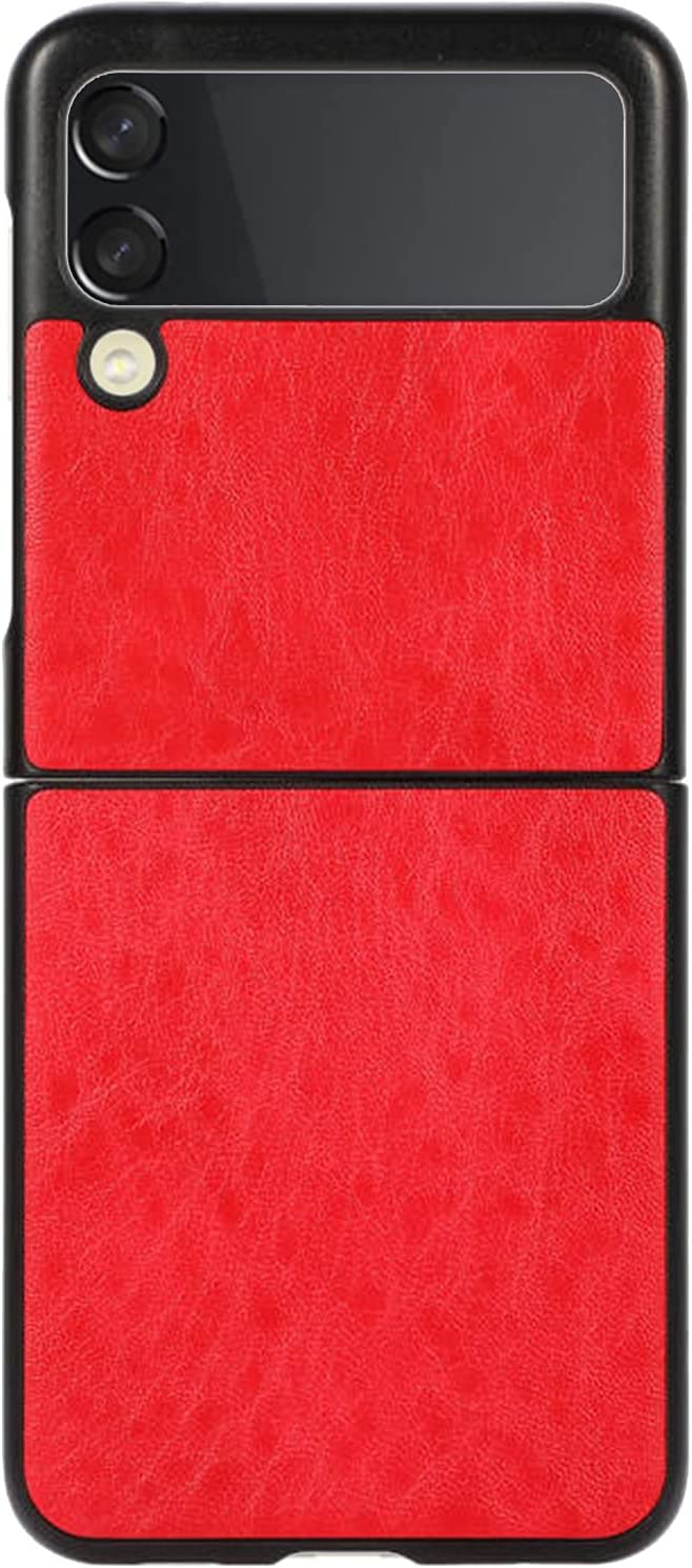 Phone Case for Galaxy Z Flip 3, PU Leather Back Cover Protector Case PC Hard Shockproof Protection Cover Shell Compatible with Samsung Galaxy Z Flip 3 5G (Red)