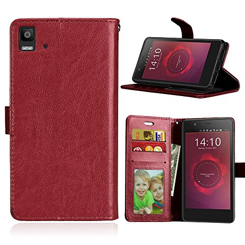 Qiaogle Teléfono Case - Funda de PU Cuero Billetera Clamshell Carcasa Cover para BQ Aquaris E5 / E5s / E5 HD / E5 FHD (5.0 Pulgadas) - DK05 / Marrón Estilo