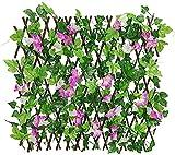 TREEECFCST Privacidad Enrejado Vallas Extensibles Setos retráctiles Valla de celosía expansiva con privacidad Flores Valla de jardín Valla de Madera con Hoja de Hiedra Artificial 827(Color:Purple;S