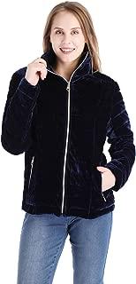 Womens Velvet Quilted Jacket Lightweight Primaloft Puffer Coat Sport Outwear