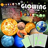 Grow in The Dark Solar System Stickers 9 Planets with 400 Pieces of Stars and Shooting Stars Wall Decals for Ceiling Kids Room Glowing Stickers