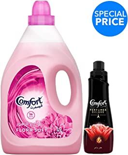 Comfort Fabric Softener Flora Soft + Comfort Concentrated Fabric Softener, 4 Litre + 650 ml FREE