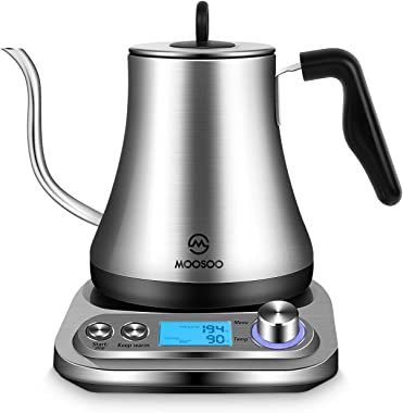 MOOSOO Electric Gooseneck Kettle with Temperature Control&6 Presets,Pour Over Coffee/Tea Kettle,Stainless Steel Inner Lid&Bottom,1000W Quick Heating,Auto Shut-off & Boil-dry Protection,0.8L Capacity