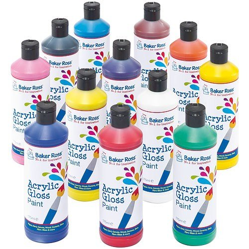 Baker Ross Acrylic Paint, Perfect For Children and Adults to Decorate and Personalise Arts & Crafts Projects, Ideal for School, Craft Groups, Home Crafting, Party Crafting and More (Pack of 12)