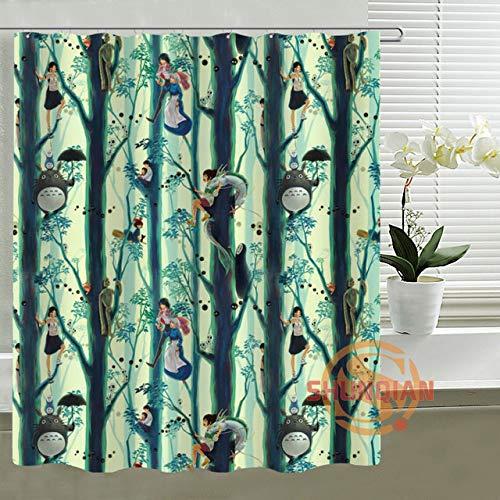 zhanghui2018 Anime Spirited Away Prinzessin Mononoke Duschvorhang Personalisierte benutzerdefinierte Bad Vorhang Wasserdichter Polyester Vorhang für die Familie