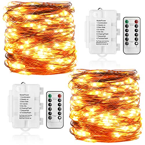[2 Pack] KooPower Outdoor Fairy Lights Warm White, [Remote & Timer] 10M 100 LEDs 8 Dimmable IP65 Waterproof Battery Operated Copper String Lights Perfect for Christmas Wedding Party Bedroom Garden