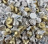 Hershey's Kisses Candy Assortment - Hershey's Kisses Milk Chocolate, Kisses Hugs White Creme, Kisses Almonds, Gold Silver Foil, Bulk 4 Pounds [FREE COOL-PACK]