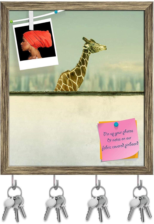 Artzfolio Artistic Giraffe Key Holder Hooks   Notice Pin Board   Antique golden Frame 16 X 18.3Inch