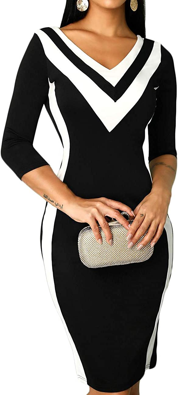 MISOMEE Women Contrast Color V-Neck 3/4 Long Sleeve Black Midi Bodycon Dress
