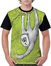 Crew Neck Short Shirts,Sloth,Animal Branch S-XXL Women's Regular Top Sleeve