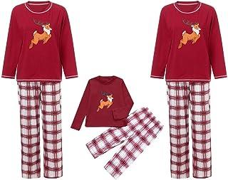 kingfansion Women Family Christmas Pajamas Set Matching 2 PCS Top+Pants Nightwear Loungewear